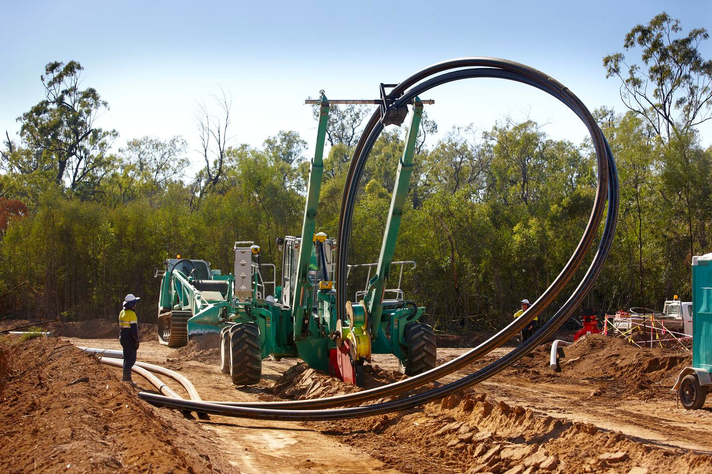 Cable plough in Australia 2x315mm pipes